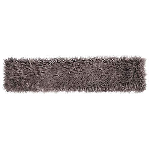Pure Label Schaffell- Lammfell- Kunstfell- Läufer für Wohn und Schlafzimmer. Dekofell für den Tisch (Taupe/Braun - 30 x 140 cm)