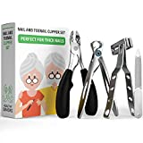 Healthy Seniors Complete Nail and Toenail Clipper Set - Designed for Thick Nails. Perfect for Diabetics or People Suffering from Arthritis