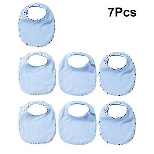 HEALLILY baberos de baba de pañuelo para bebés y tela de eructo para niños niñas niño pequeño 7 piezas (azul cielo)