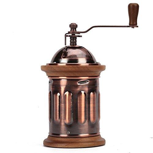 3e Home 23–2100Kaffeemühle mit Handkurbel, manuell, mit Edelstahl-Frässtiften, Mühle, Antik-Kupfer mit Massivholzrand, 9cm x 9cm x 22cm, braun