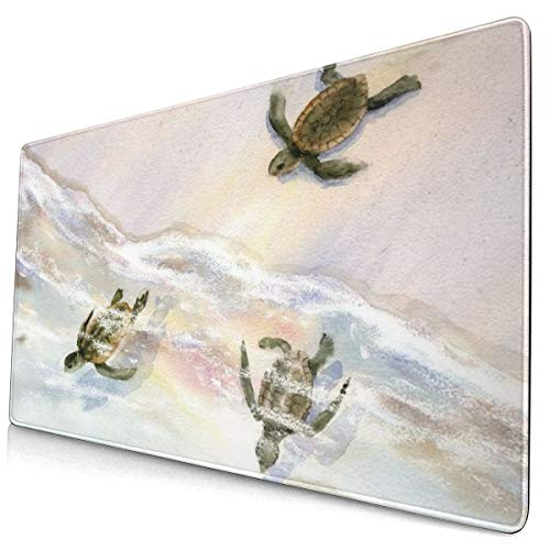 Watercolor Sea Turtles Design Pattern XXL XL Large Gaming Mouse Pad Mat Long Extended Mousepad Desk Pad Non-Slip Rubber Mice Pads Stitched Edges (29.5x15.7x0.12 Inch)