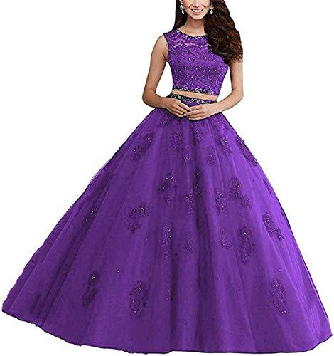 XUYUDITA Ballkleid, lang, Spitze, zweiteilig, Strass, Quinceanera-Kleid, Ballkleider Violett-44