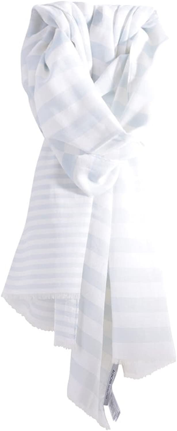 Agnona Scarf Women's Light bluee White Striped Cotton 172 cm x 72 cm