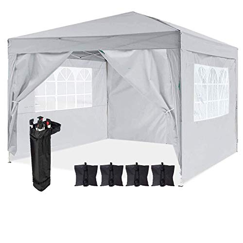 Dawsons Living Waterproof Pop Up Gazebo - 3m x 3m Pop Up Outdoor Garden Shelter with Sides - PVC Coated - Travel Bag and 4 Leg Weight Bags (Grey)