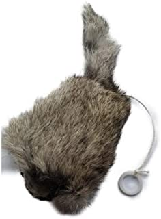 Kats'N Us Trembling Rabbit Fur Mouse Cat Toy with Pull String Cat Toy Gray Color