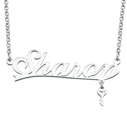 Roy Lopez Sterling Silver Name Necklace Personalized with Key Customized Prime Pendant for Girls Boys Men Women