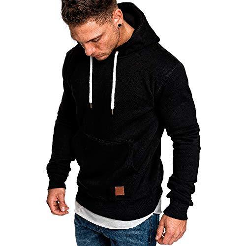 MAYOGO Hoodie Männer Solid Sweatshirts Herren Basic Kapuzenpullover Sweatjacke Freizeit Sport Kapuzen-Pulli mit Tasche Räumung Sale