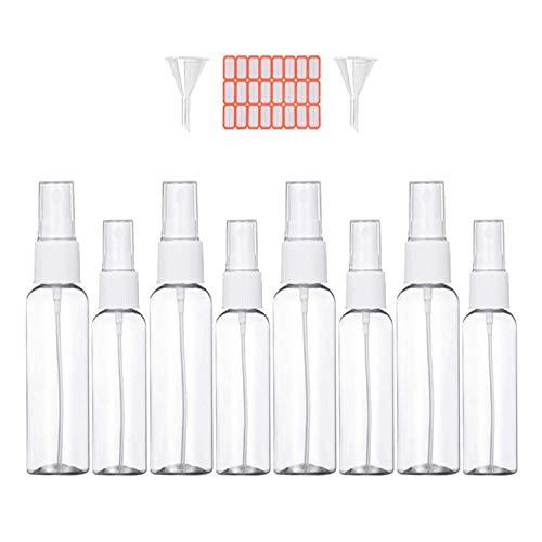 Bote Spray Botella de Aerosol Vacío Plástico Transparente Niebla Fina Atomizador de Viaje Conjunto de Botellas (100 ML/50ML, Blanco)8 Piezas