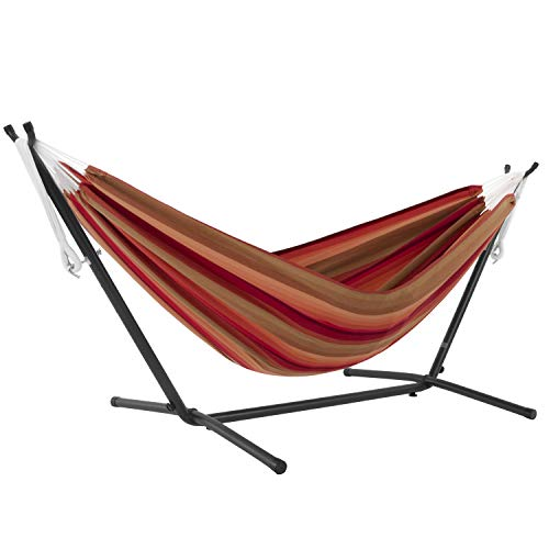 Vivere Double Sunbrella Hammock with Space Saving Steel Stand, Sunset (450 lb Capacity - Premium Carry Bag Included)