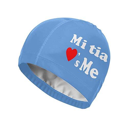 Zcfhike My Tia Loves Me Cuffia da Nuoto Impermeabile Comfy Swim cap Fit Entrambi i Capelli Lunghi Corti