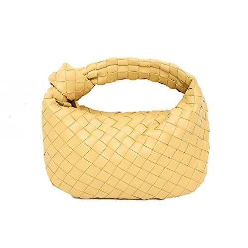 Bolsos de hombro para mujer, bolso de mano tejido de PU para bolas de masa de mano, bolso retro de cuero suave para las axilas (color: Ellow, tamaño: 7 x 2 x 11 pulgadas)