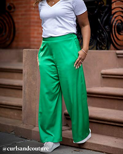 The Drop Women's Emerald Green Satin Wide-Leg Pant by @amazonthedrop