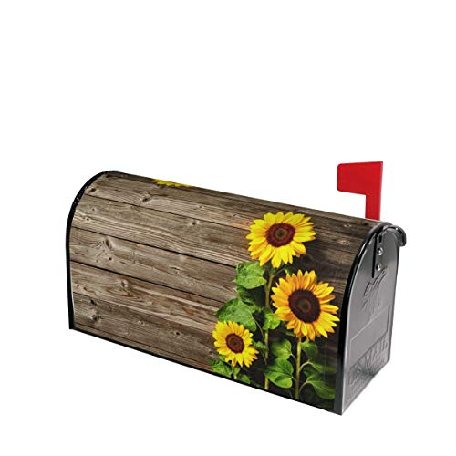 Autumn Sunflowers Wood Pattern Mailbox Covers Magnetic Post Box Cover Wraps Standard Size 21x18 Inches for Garden Yard Decor