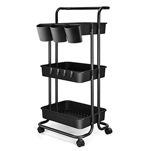 3 Tier Utility Rolling Cart - Organizer Cart Storage Cart Kitchen Cart Makeup Cart 3 Shelf Baby Tray Cart with Hanging Cups Trolley Handles and Wheels Use for Bathroom Kids Room Bedroom Office (Black)