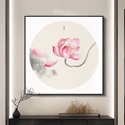 None brand Pinturas Impresas en Lienzo con Flores de Loto Chino de Acuarela imágenes artísticas de Pared póster en Lienzo para Sala de Estar Oficina decoración del hogar sin marco-50x50cm
