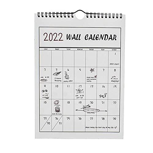 Xushiwanju 2022 Calendar Metal Double Coil Monthly Plan Schedule Notes Daily Organizer Annual Plan Calendar Wall Calendar To-do lists (Color : A)
