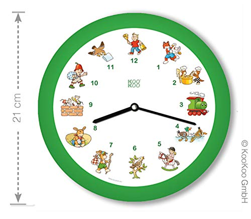 KOOKOO KinderLieder Grün, kleine Wanduhr, 21cm, zu jeder Stunde tönt eines von 12 bekannten Kinderliedern auf Zither und Altflöte, mit Lichtsensor