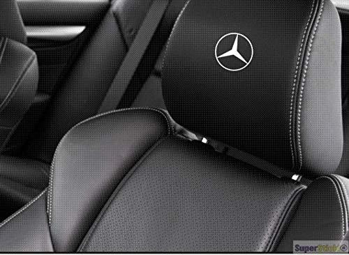 SUPERSTICKI 5X MERC Benz Stern Logo Kopfstützen Aufkleber für Kopfstütze Sitze Handschufach Lack Tuningsticker Decal Decals geplottet Hochleistungsfolie oder Scheibe Headrest 12cm