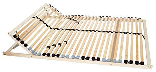 Lattenrost mit höhenverstellbarem Kopfteil - 140 x 200 cm Bettrost mit 28 Leisten in 7 Zonen und einstellbarem Härtegrad für besonderen Comfort - für alle Matratzenarten