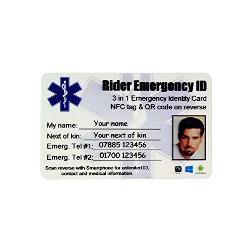 Motorfiets Rider Accident Emergency SMART ID Portemonnee Kaart. Smartphone compatibele Contactloze identiteitskaart met NFC-chip en QR-code. Houdt UNLIMITED Emergency ID, Contact en Medische Informatie. Paramedicus scannen of aanraakkaart met een gewone smartphone om zoveel mogelijk informatie te onthullen als u wilt verstrekken. Naast Kin Numbers, E-mail, Adressen. Foto ID optioneel.