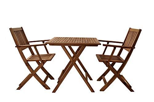 SAM 3 TLG. robuste Garten- Sitzgruppe, Akazien-Holz Massiv geölt, 1x Tisch + 2X Klappstuhl mit Armlehnen, klappbar