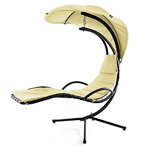 Nbvcxz Schwebeliege, Beige Schwingliege Relaxliege Hängeliege Sonnenliege Hängeschaukel Inklusive Sonnenschirm, beige: 170x210x115cm