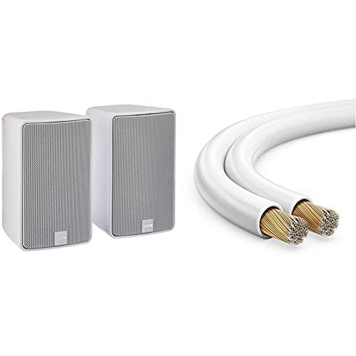 Canton Plus GX.3 Kleinlautsprecher (40/100 Watt) Weiss (Paar) & MANAX® Lautsprecherkabel weiß 2x1,5mm² 30m Ring, Weiß