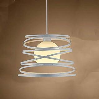 Lámparas de araña Jaula Metal Vintage Iluminación Colgante Industriales Lamparas de Techo Ajustable Retro Estilo Loft,30cm (Blanco)