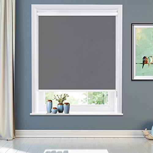 """MiLin Blackout Roller Shades No Tools Window Blinds and Shades, No-Drilling Roller Blinds Easy to Install, Room Darkening Waterproof Thermal Insulated for Home & Office - Classic Gray 18"""" W x 60"""" H"""