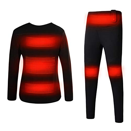 JH&MM Winter Electric Heating Skiing Underwear Set Long Sleeves Women Thermal Coats Heated Couple Shirts Camping Pants,Men's Black,S