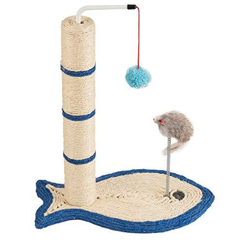 SOPRETY Katzen Kratzbaum Klein mit Katzenspielzeug und federmaus, Katzenkratzbaum Sisal Kratzsäule mit Plüsch Spielzeug 45cm für Katzen Kätzchen, blau