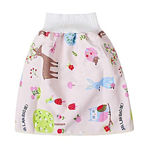 ECOSWAY Bequemer Baby-Wickelrock, hohe Taille, Bauchschutz, auslaufsicher, 2-in-1 wasserdichte und saugfähige Shorts, für Babys und Kleinkinder, Größe M, rosa Hirsch