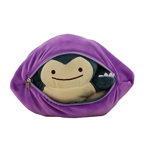 HEWE Pokemon Two-in-One Snorlax Metamon Snorlax Soft Toy Doppel Reißverschluss 32cm, Geburtstag und Weihnachten für Kinder Geschenk