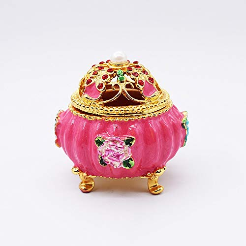 KK Zachary Caja de joyería esmaltada con diamantes de la Corte Europea para regalos creativos adornos rosa 6,5 x 6,5 x 7 cm