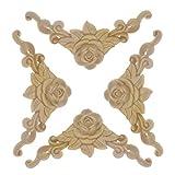 Healifty 4 piezas de madera tallada apliques onlay sin pintar flor color de rosa para bricolaje artesanía puerta decoración del hogar