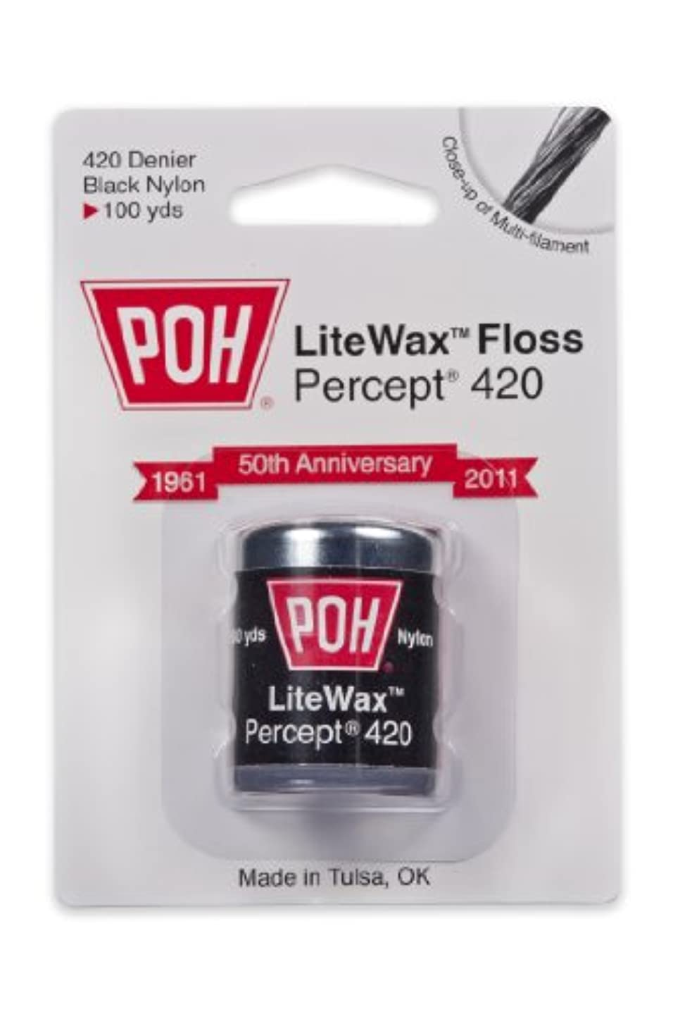 POH Dental Floss Percept 420 Black LiteWax 100 Yard