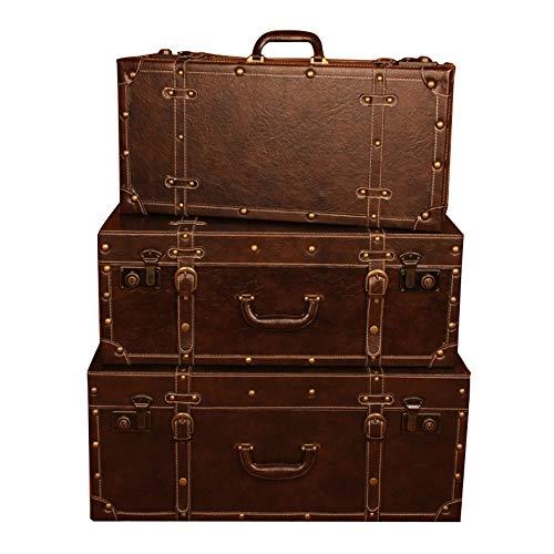 ZDAMN Maletas Vintage Caja de Almacenamiento marrón de la Vendimia for el Dormitorio Sala de Estar Cuarto de Vestir Juego de 3 para Dormitorio (Color, Size : 3 PCS)
