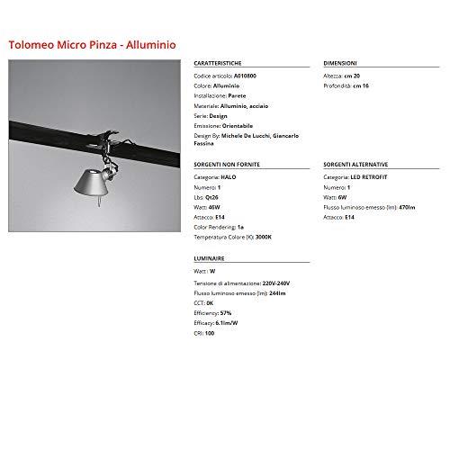 Wandlamp Artemide Tolomeo Micro Tang