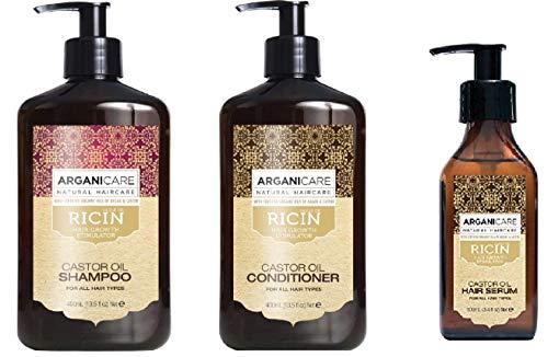 Arganicare Set de 3 Produits Accélérateur De Croissance à l'Huile de Ricin Bio Pour Les Cheveux Fragilisés Pointes Fourchus Shampoing + Apres Shampoing + Sérum Protecteur