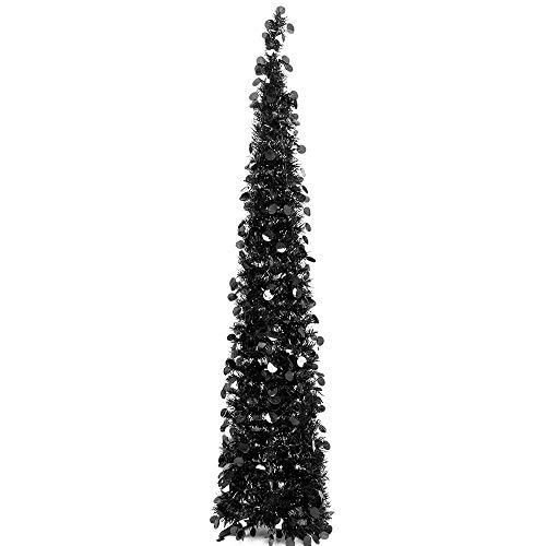 N&T NIETING künstlicher Weihnachtsbaum 150 cm, Zusammenklappbarer Pop-up Schwarz Weihnachtsbaum mit Pailletten für Weihnachten, Partybedarf, Haus Dekoration