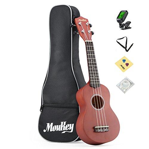 Moukey Kit para principiante de Ukelele Soprano 21 B-BR con bolsa de concierto, afinador, púas, Correa, Madera de tilo