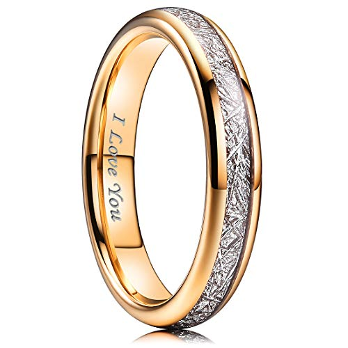 NaNa Chic Jewelry 4mm Rose Gold Women Tungsten Carbide Ring Inner Hole Laser I Love You Inlay with Meteorite Sticker 7