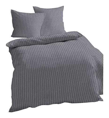 Dormisette Melange Flanell Bettwäsche 135x200cm 2 TLG. Streifen Anthrazit Weiß