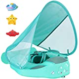 2020 Newest Size Improved Add Tail Never Flip Over UPF 50+ Mambobaby Non-Inflatable Float Smart Swim Trainer Relaxing Infant Solid Swimming Ring Pool Float with Canopy