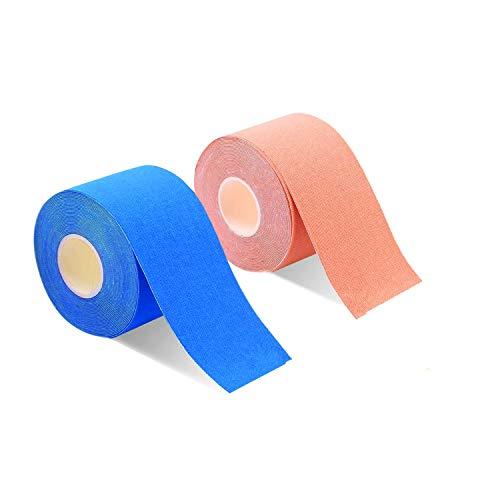 2巻入 テーピングテープ キネシオ テープ 筋肉・関節をサポート 伸縮性強い 汗に強い パフォーマンスを高める 5cm x 5m (ベーュ/��い)