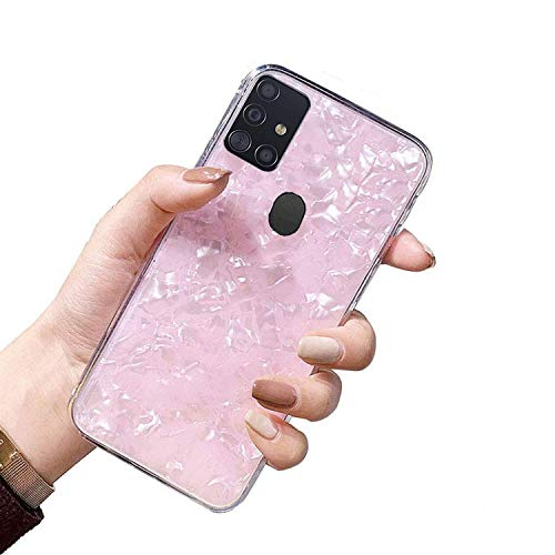KC Crystals Case Glitter Dream Shell Patterned Design Case Soft Smooth Silicone Semi Transparent Back Cover for Samsung Galaxy A21s (Pink)