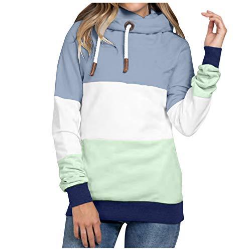 Women Color Block Sweatshirt Long Sleeve Drawstring Fall Hoodies Tops Lightweight Tunics Loose Casual Soft Shirts Mint Green
