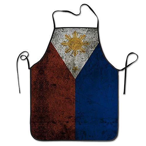 N\A Küchenschürze Vintage Philippine Flag Lätzchen Schürzen Frauen Männer Professional Chef Schürzen mit extra Langen Krawatten, wasserfeste Kellner Hostess Schürze für die Reinigung Gril