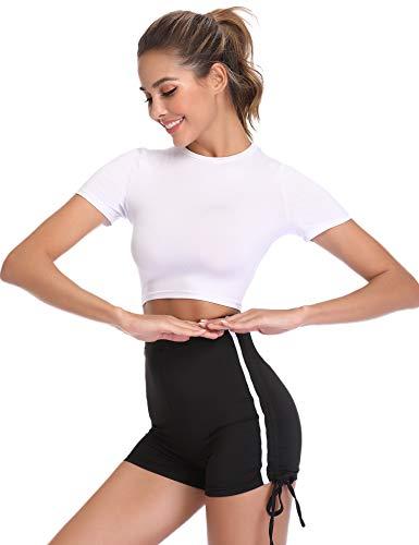 Hawiton Conjunto de Ropa Deportiva para Mujer Top de Running de Manga Corta de 2 Piezas & Pantalones Cortos de Cintura Alta Yoga Gym Wear