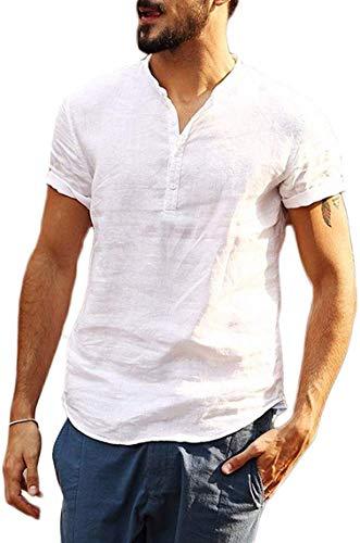 Camiseta de Manga Corta para Hombre Camisa Ajustada de Color Liso Camisa Ocio de Algodón y Lino con Cuello en V Blusa de Moda con Botones T-Shirt Verano Informal (Blanco, L)
